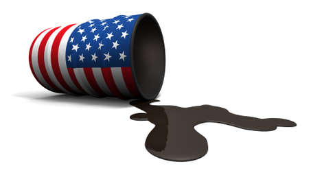 digitally generated image: 3D illustration concept of a oil barrel with a USA flag painted on it, leaking oil running onto the ground.