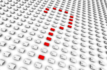raytrace: High resolution 3D raytrace of houses, red question mark in the center.