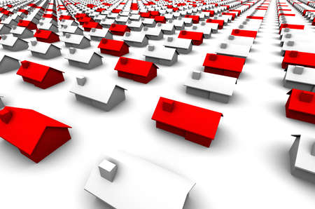 raytrace: High resolution 3D raytrace of houses, some are red.