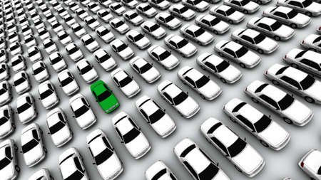 Hundreds of generic cars. The mystery car is green. DOF, focus is on green car. Stock Photo