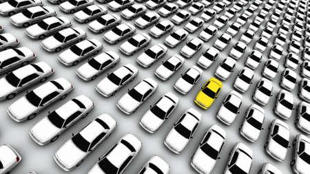 """Honderden van generieke auto's. Het mysterie """"lemon"""" auto is geel. DOF, focus ligt op gele auto."""