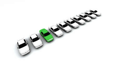 Ten generic cars with one green.