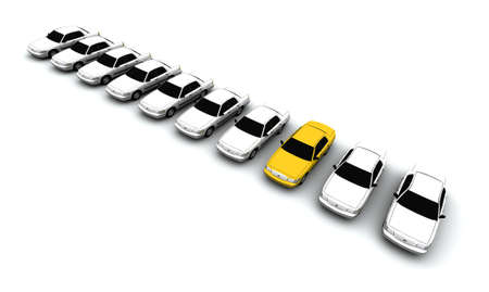 Ten generic cars. The mystery lemon car is yellow. DOF, focus is on yellow car.