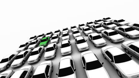 Forty generic cars with one green. DOF, focus is on green car.