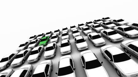 Quarante voitures g�n�riques avec un vert. DOF, l'accent est sur la voiture verte.