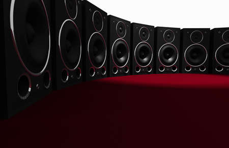 3D render of audio speakers on red studio setting.