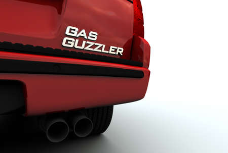 raytrace: High resolution 3D raytrace of SUV with Gas Guzzler emblem. No recognizable logos or marks.