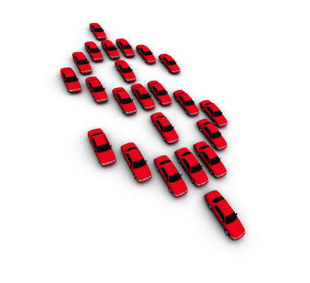 High resolution render of red 3D cars forming dollar symbol. Isolated on white.