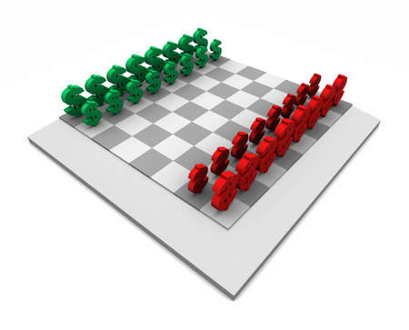 High resolution 3D illustration of chess board with red and green dollar symbols as game pieces. Isolated on white.  Imagens