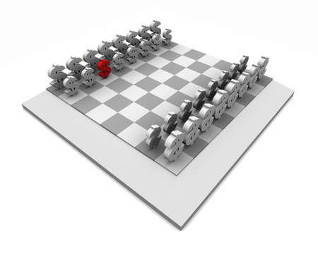 High resolution 3D illustration of chess board with dollar symbols as game pieces, one is red. Isolated on white.  illustration