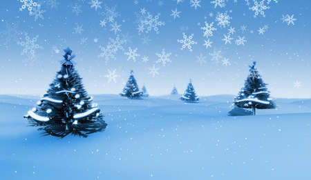 3D render of Christmas trees, snow and snowflakes falling.
