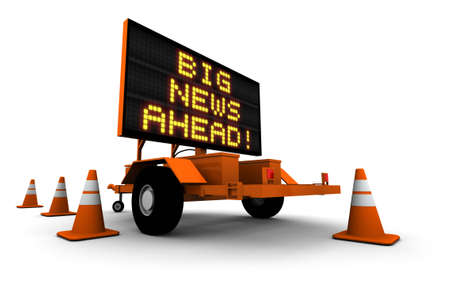 Big News! - Construction Sign Message. 3D illustration isolated on white background. Фото со стока