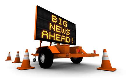 Nouvelles Big! - Signer le message de la construction. Illustration 3D isol� sur fond blanc.