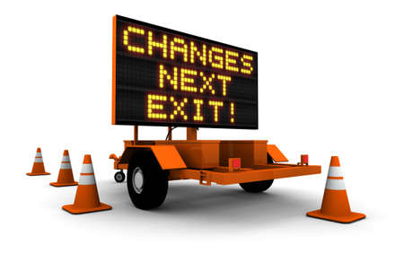 High resolution 3D render of construction sign message board and cones. Next exit... Changes!