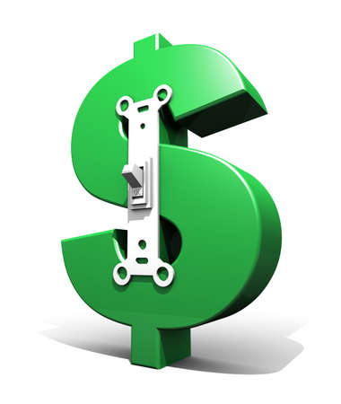 satire: 3D render illustration of large green dollar symbol with a lightpower switch on the front in the ON position.