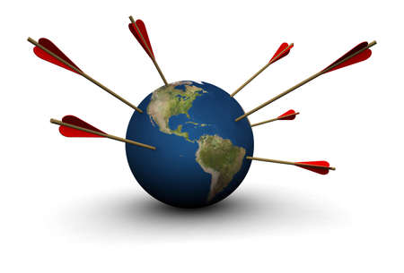 3D illustration of Earth with arrows sticking out from the sides.  Stock Photo