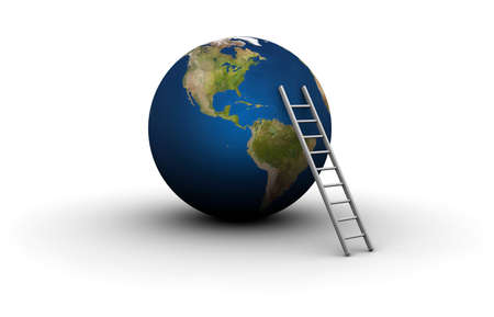 earth moving: 3D illustration of ladder leaning against Earth - 3D illustration isolated on white background.
