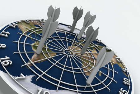 High resolution raytraced 3D render of Earth dart board on white background.