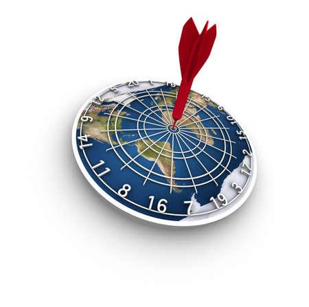 Hoge resolutie raytraced 3D render van de aarde dart bord op een witte achtergrond. Een rode pijl in de roos.