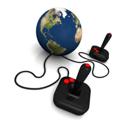 3D render of Earth connected to joysticks.