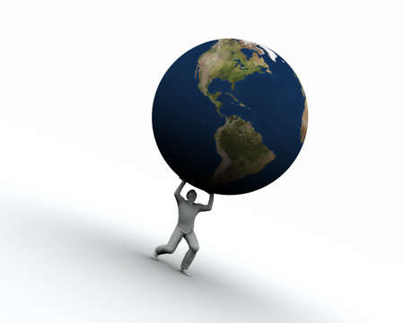 High resolution raytraced 3D render of Earth globe being lifted by a man. Stock Photo