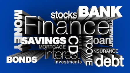 3D illustration of various financial words on blue background.