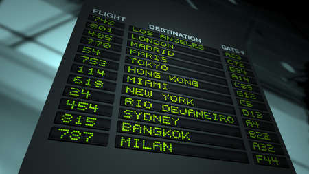 Flight information board in airport terminal. Extreme POV. DOF focus on board.