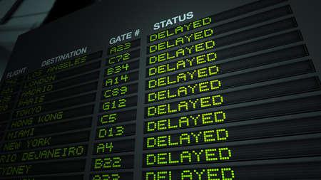 Airport Flight Information Board - Delayed Editorial