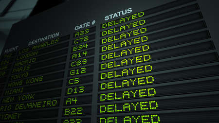 Airport Flight Information Board - Delayed Editorial