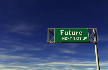 Super high resolution 3D render of freeway sign, next exit... Future! Stok Fotoğraf
