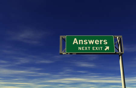 Super high resolution 3D render of freeway sign, next exit... Answers!