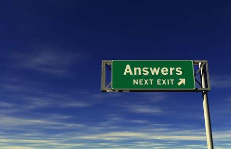 Super hohe Auflösung 3D render der Autobahn Zeichen, nächste Ausfahrt ... Antworten! Standard-Bild - 11159072