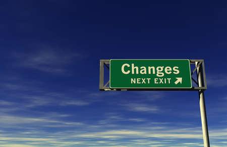 Super hoge resolutie 3D render van snelweg teken, volgende afslag ... Wijzigingen! Stockfoto
