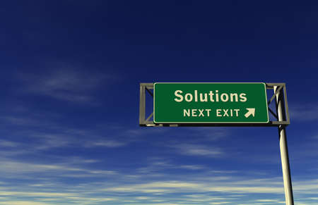 consequence: Super high resolution 3D render of freeway sign, next exit... Solutions!  Stock Photo