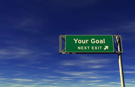 street name sign: Super high resolution 3D render of freeway sign, next exit... Your Goal!  Stock Photo