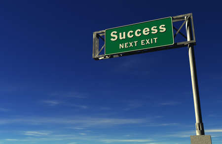 Super high resolution render of freeway sign, next exit... Success! Stock Photo