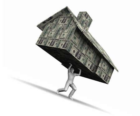 Super haute r�solution GI raytrace de la maison de levage homme fait de billets d'un dollar $ 100.