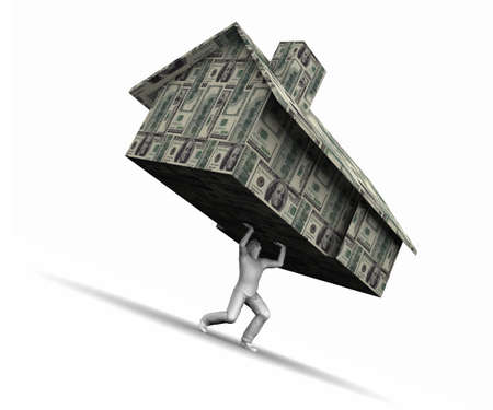 Super high resolution GI raytrace of man lifting house made of $100 dollar bills.  Stock Photo