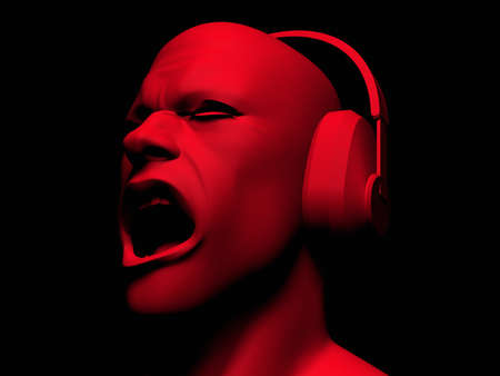 exhilarated: High resolution 3D render of man wearing headphones and yelling. Stock Photo