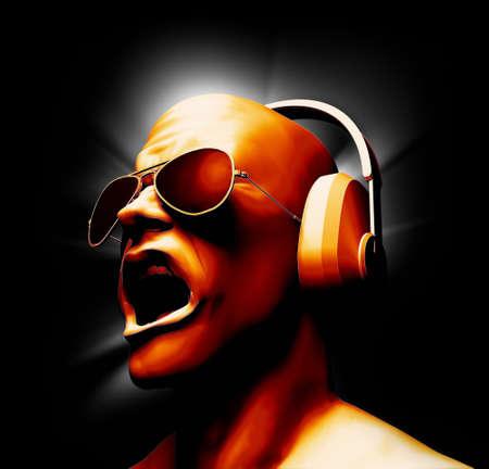 Digital Painting of DJ with headphones   Foto de archivo