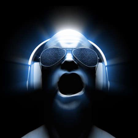 3D man met een koptelefoon (en een zonnebril met statische in de lenzen) met gloed en lichte strepen. Stockfoto