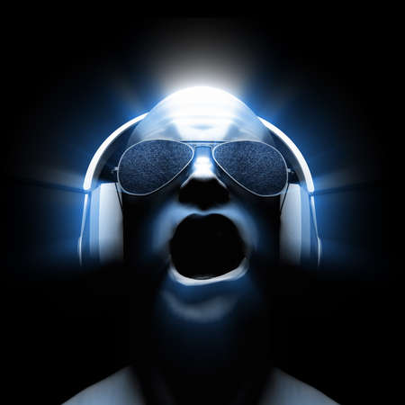 3D man with headphones (and sunglasses with static in the lenses) with glow and light streaks.