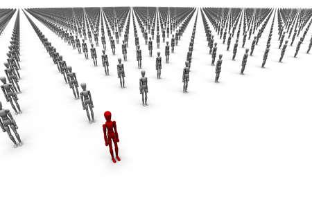 Grote menigte van 3D-mannequins, een rode staan los van de rest.
