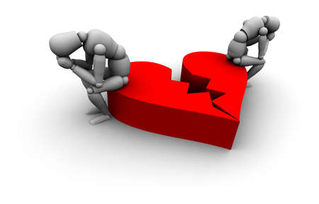 Super high resolution 3D Mannequins Sitting on broken heart in red.  Stock Photo