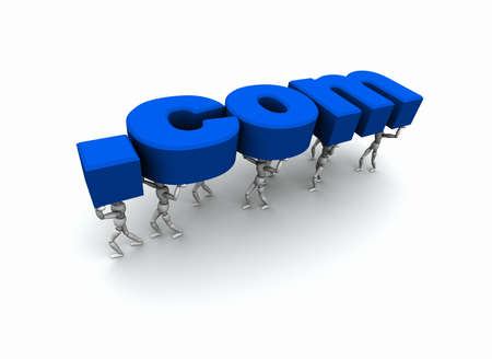 3D mannequins carrying the word .com in blue.
