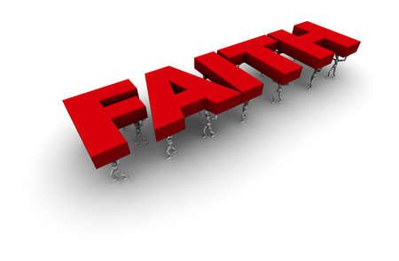 """3D-Figuren tragen das Wort """"Glaube"""" in rot. Standard-Bild - 11159193"""