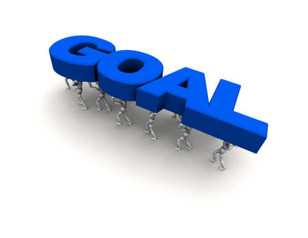 3D mannequins carrying the Word 'GOAL' in blue.