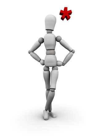 Die conditio humana ist, lesen Sie das Kleingedruckte lesen. 3D übertragen von Schaufensterpuppe mit roten Asterisk über den Kopf. Standard-Bild - 11159882