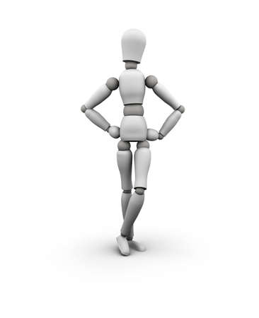 3D illustration of mannequin with hands on hips isolated on white.