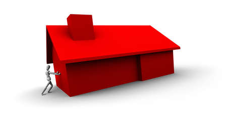 raytrace: High resolution 3D raytrace of mannequin pushing red house.   Stock Photo